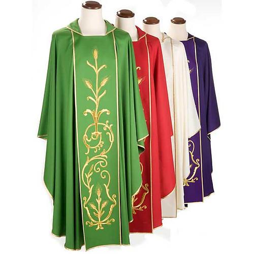 Casula sacerdotale lana pura spighe oro 1