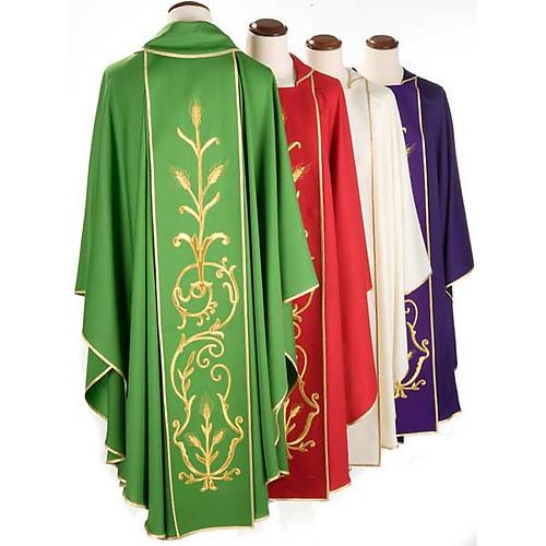 Casula sacerdotale lana pura spighe oro 2