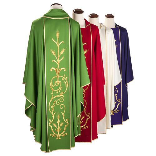 Casula sacerdotale lana pura spighe oro 6