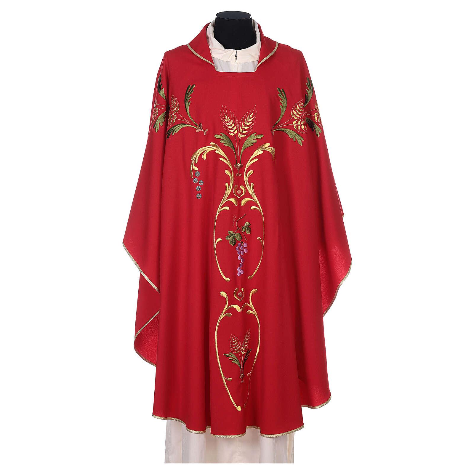 Casulla sacerdotal espigas uva hojas pura lana 4