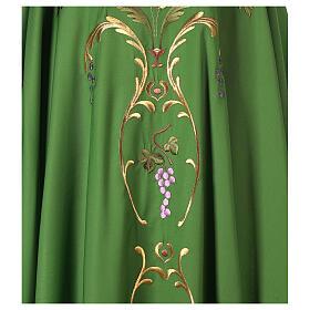 Casulla sacerdotal espigas uva hojas pura lana s2
