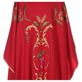 Casulla sacerdotal espigas uva hojas pura lana s4