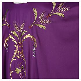 Casulla sacerdotal espigas uva hojas pura lana s8