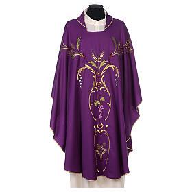 Casulla sacerdotal espigas uva hojas pura lana s9