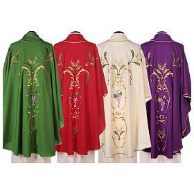 Casulla sacerdotal espigas uva hojas pura lana s10