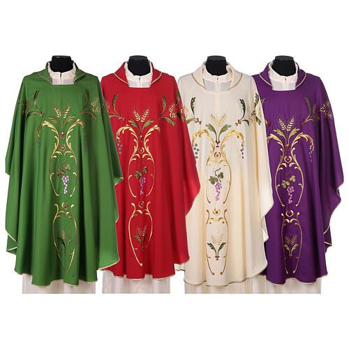Casulla sacerdotal espigas uva hojas pura lana 1