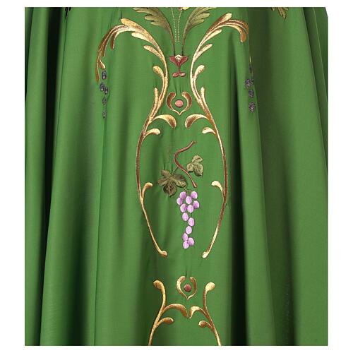 Casulla sacerdotal espigas uva hojas pura lana 2