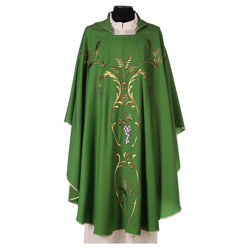 Casulla sacerdotal espigas uva hojas pura lana 3