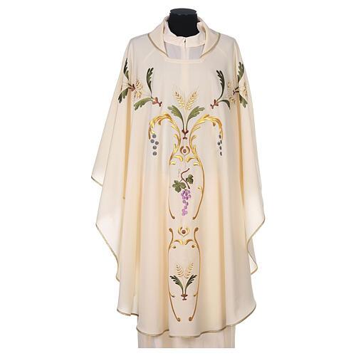 Casulla sacerdotal espigas uva hojas pura lana 7