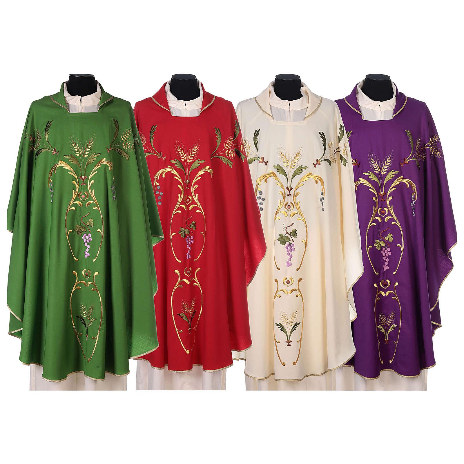 Casula sacerdotale spighe uva foglie pura lana 4