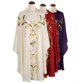 Casula sacerdotale spighe uva foglie pura lana s1