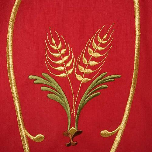 Casula sacerdotale spighe uva foglie pura lana 6