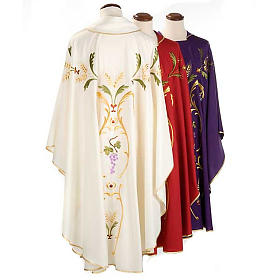 Liturgical Chasuble with gold ears of wheat, grapes and leaves s2