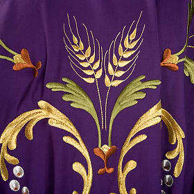 Liturgical Chasuble with gold ears of wheat, grapes and leaves s5