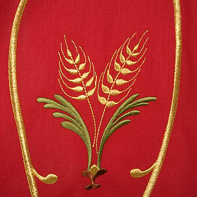 Liturgical Chasuble with gold ears of wheat, grapes and leaves s6