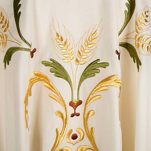 Liturgical Chasuble with gold ears of wheat, grapes and leaves 3