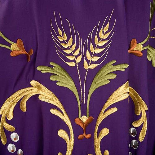 Liturgical Chasuble with gold ears of wheat, grapes and leaves 5