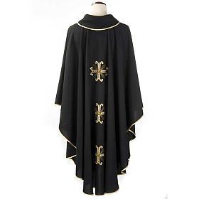 Casula sacerdotale nera 3 croci dorate fronte e retro s2