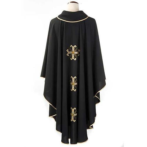 Casula sacerdotale nera 3 croci dorate fronte e retro 2