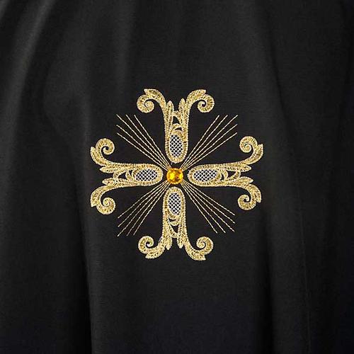 Casula sacerdotale nera 3 croci dorate fronte e retro 3