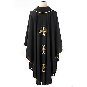Liturgical vestment, black with gold crosses s2