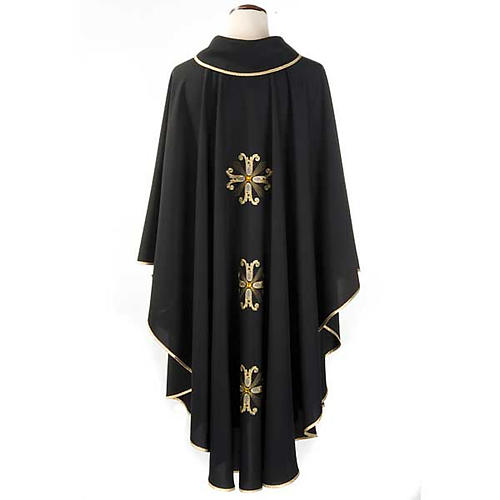 Liturgical vestment, black with gold crosses 2