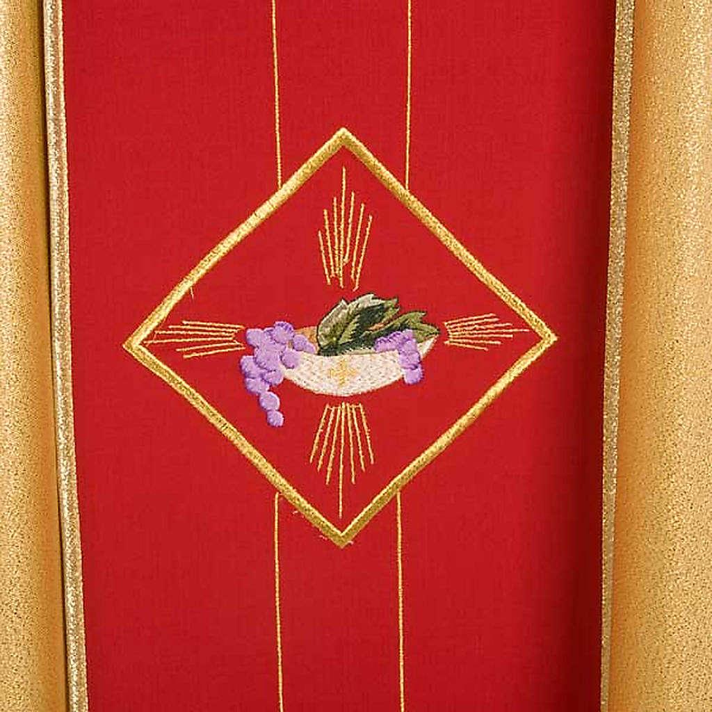 Casula sacerdotale oro stolone rosso ostia spighe uva 4