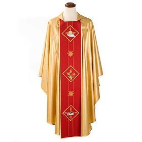 Casula sacerdotale oro stolone rosso ostia spighe uva s1