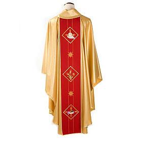 Casula sacerdotale oro stolone rosso ostia spighe uva s2