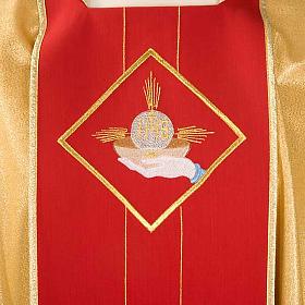 Casula sacerdotale oro stolone rosso ostia spighe uva s3