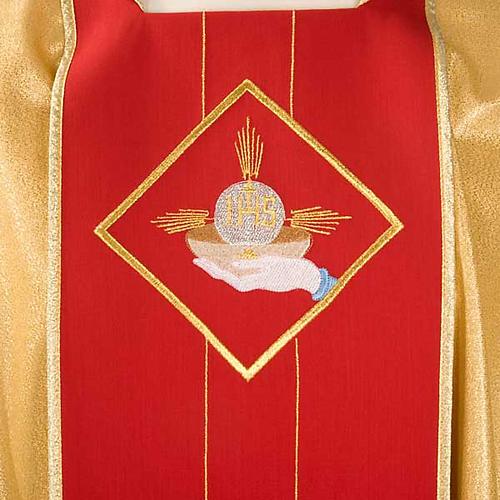 Casula sacerdotale oro stolone rosso ostia spighe uva 3