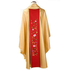 Chasuble dorée bande rouge IHS roses s2