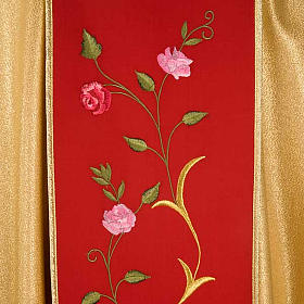 Chasuble dorée bande rouge IHS roses s5