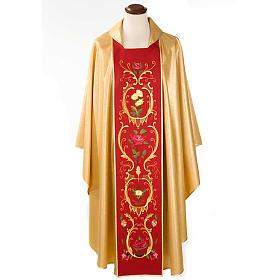 Casula sacerdotale oro stolone rosso rose fiori s1