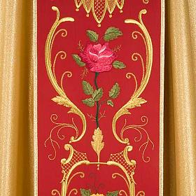 Casula sacerdotale oro stolone rosso rose fiori s4