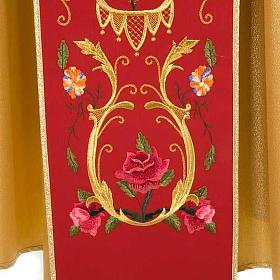 Casula sacerdotale oro stolone rosso rose fiori s5