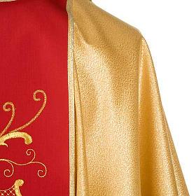 Casula sacerdotale oro stolone rosso rose fiori s6