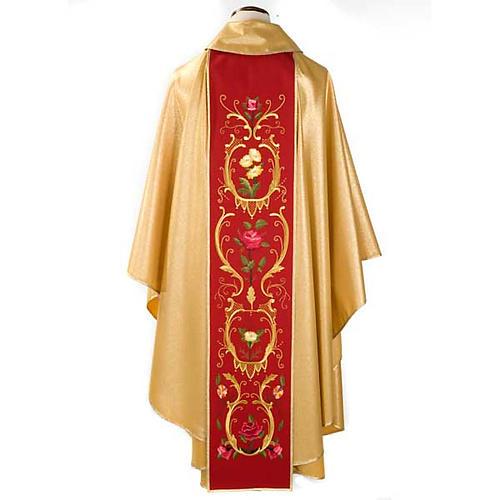 Casula sacerdotale oro stolone rosso rose fiori 2