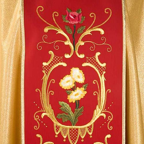 Casula sacerdotale oro stolone rosso rose fiori 3