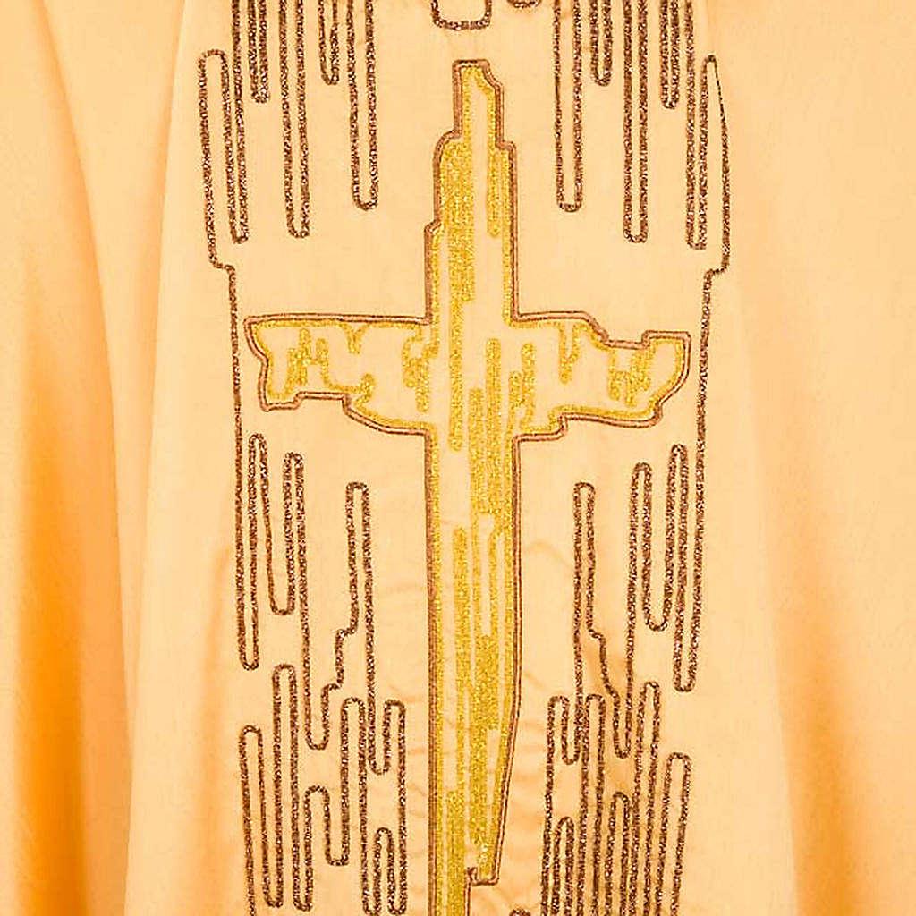 Chasuble dorée shantung croix stylisée 4