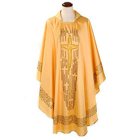 Chasuble dorée shantung croix stylisée s1