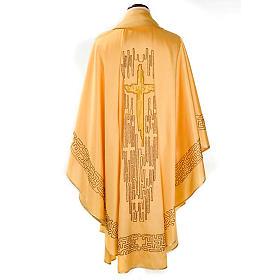 Chasuble dorée shantung croix stylisée s2
