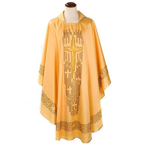 Chasuble dorée shantung croix stylisée 1