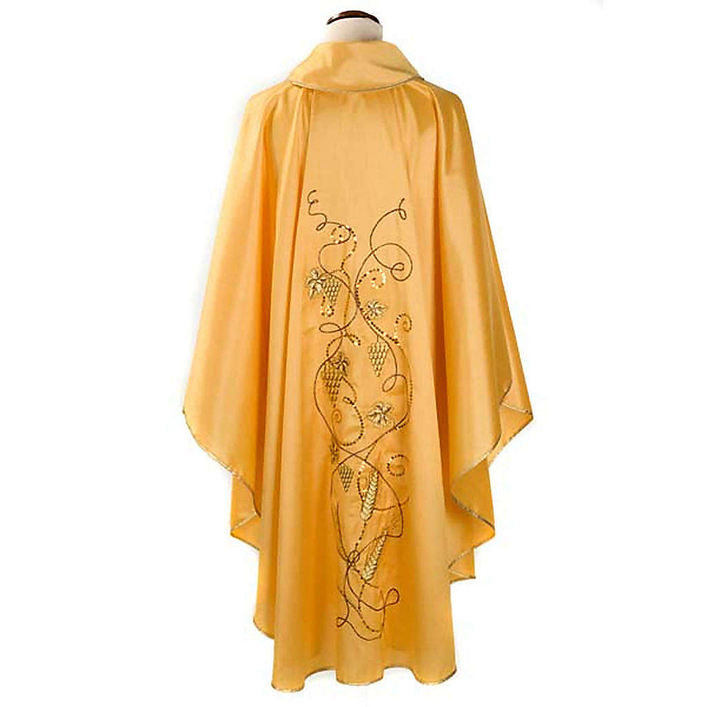 Chasuble with IHS symbol, grapes and ears of wheat - shantung 4