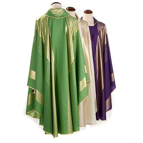 Chasuble liturgique bandes dorée laine 2