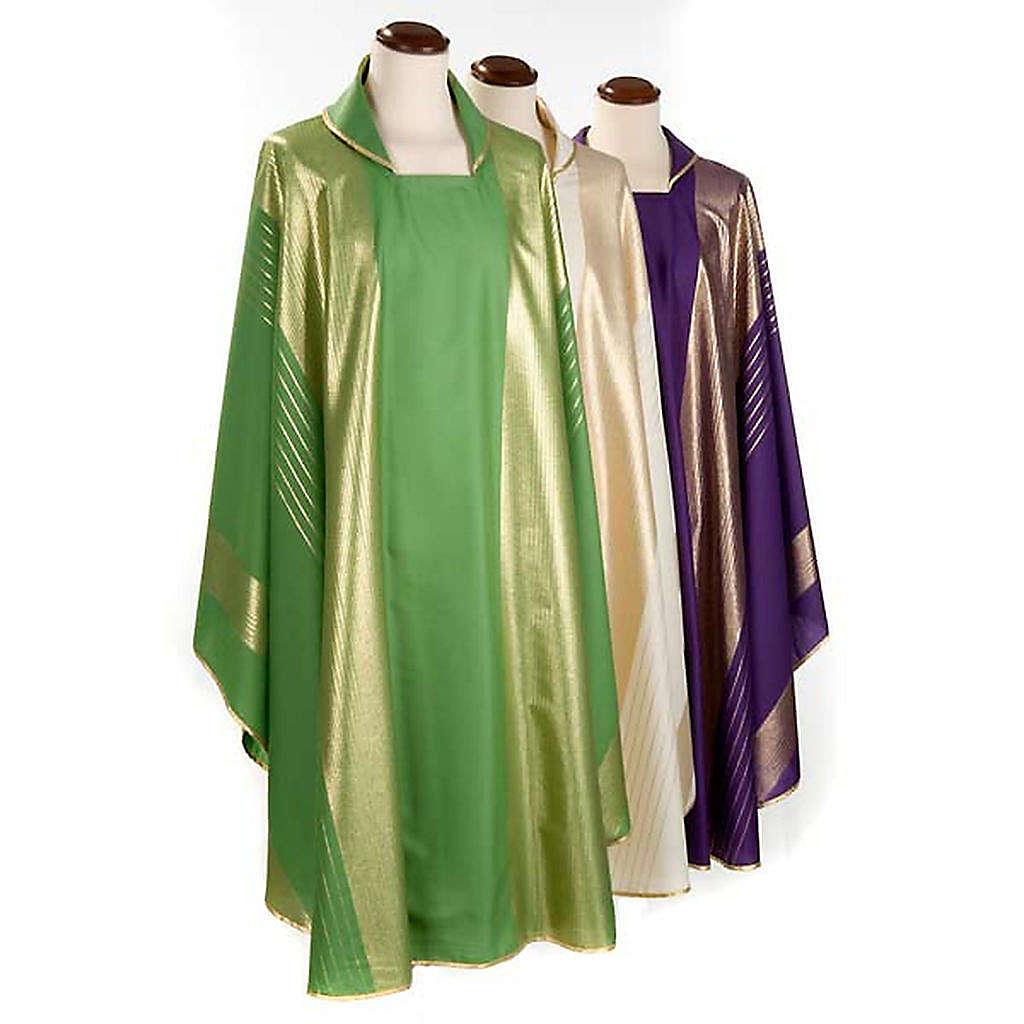 Casula liturgica strisce dorate pura lana 4