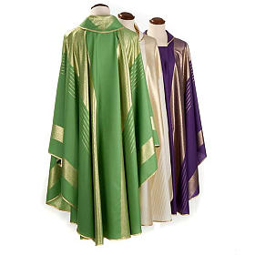 Casula liturgica strisce dorate pura lana s2
