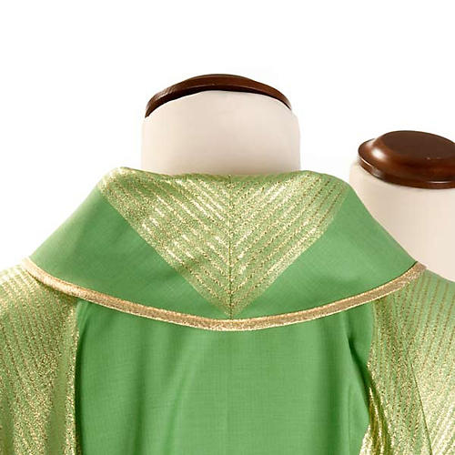 Casula liturgica strisce dorate pura lana 3