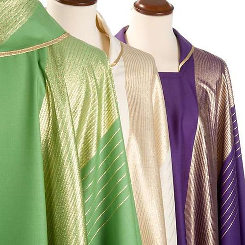 Casula liturgica strisce dorate pura lana 6