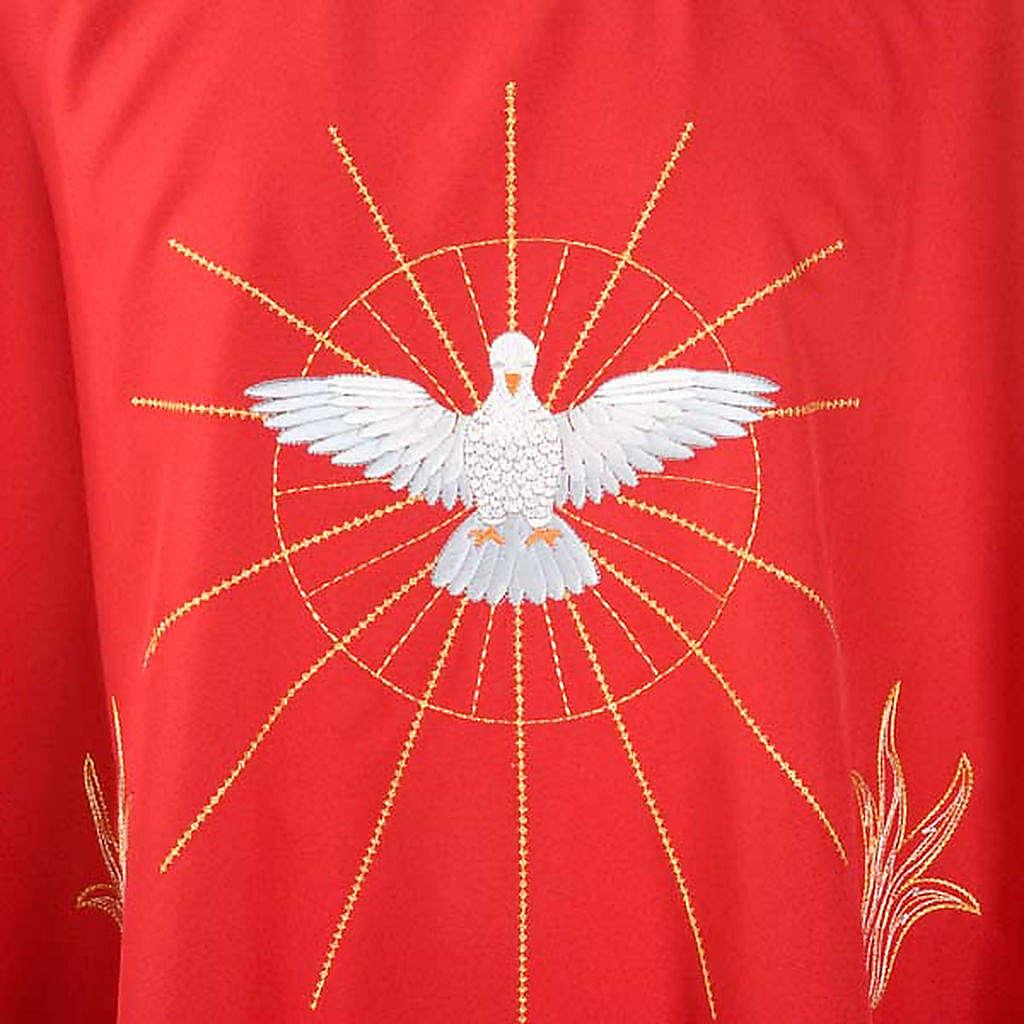Casulla Espíritu Santo y llamas color rojo 4
